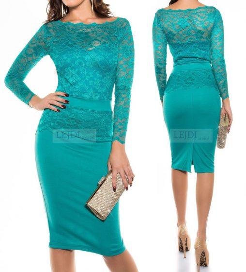 Elegancka koronkowa sukienka midi szmaragdowa