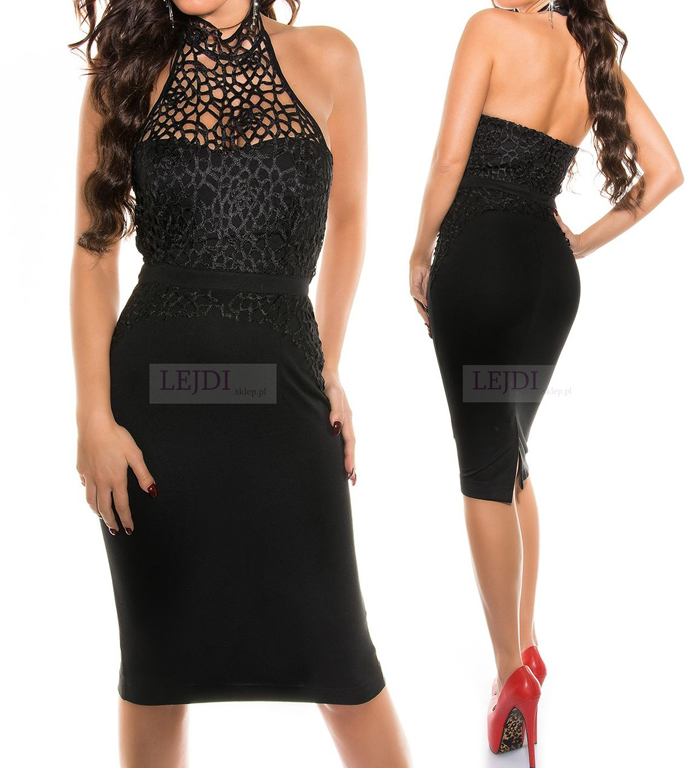 Elegancka sukienka do kolan czarna koronkowa