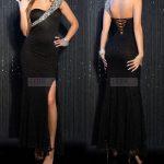 Elegancka czarna koronkowa długa suknia wieczorowa