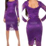 Elegancka koronkowa sukienka midi fiolet