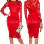 Elegancka koronkowa sukienka midi czerwień