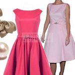 Elegancka sukienka w stylu Edyty Górniak, kolor malinowy