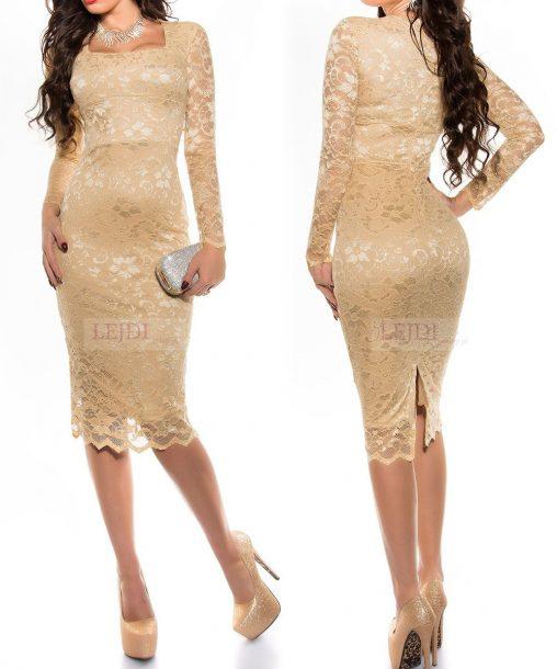 Elegancka złota koronkowa sukienka na wesele
