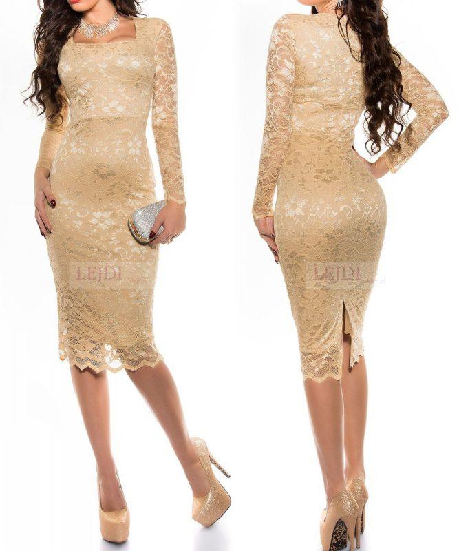 d0cf818df0 Elegancka złota koronkowa sukienka na wesele - Wieczorowe sukienki ...