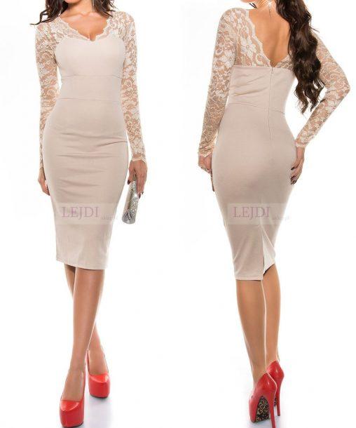 Elegancka beżowa koronkowa sukienka na wesele z koronką