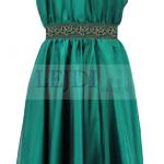 Wieczorowa sukienka z szyfonu na wesele, szmaragdowa