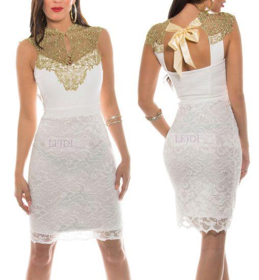 Elegancka koronkowa sukienka ze złotą gipiurową koronką, biała