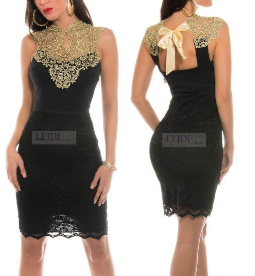 Elegancka sukienka czarna ze złotą koronką