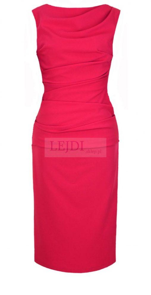 Elegancka wizytowa sukienka midi, czerwona