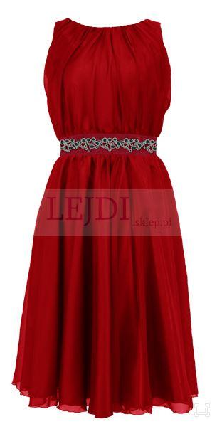 Wieczorowa sukienka z szyfonu na wesele, czerwona