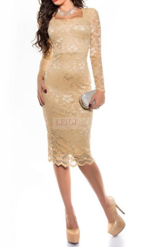 Elegancka koronkowa sukienka midi, złoty beż