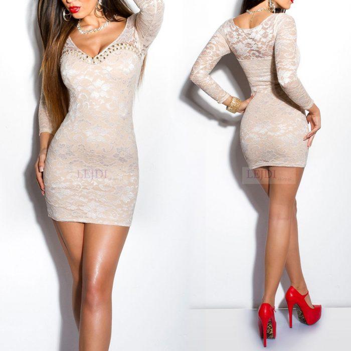 Elegancka koronkowa sukienka z perełkami