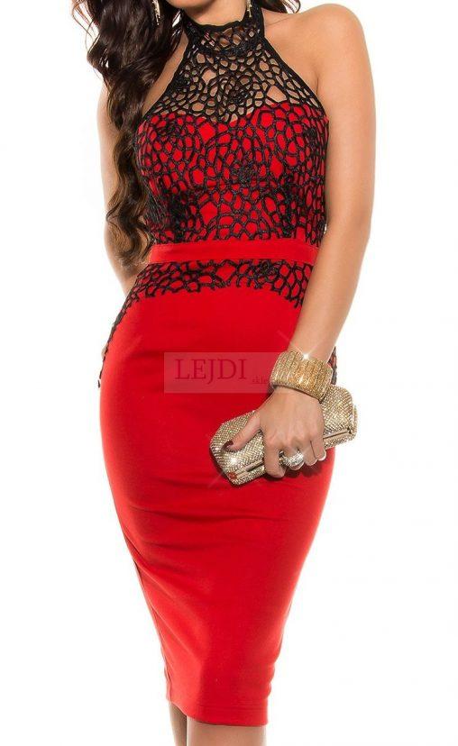 Elegancka czerwona sukienka koronkowa midi