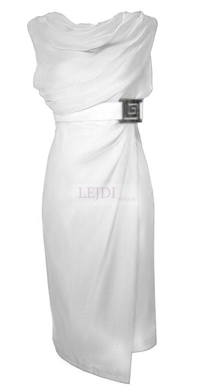Wieczorowa sukienka do kolan, biała
