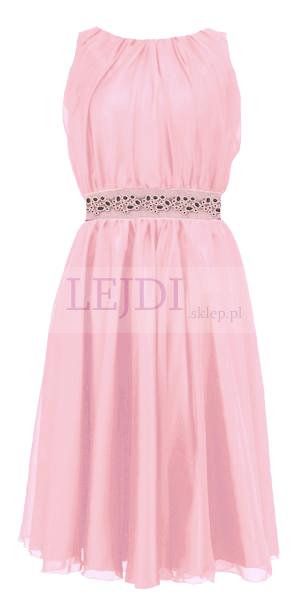 Wieczorowa sukienka z szyfonu na wesele, różowa