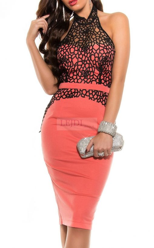 Elegancka sukienka koronkowa midi koralowa