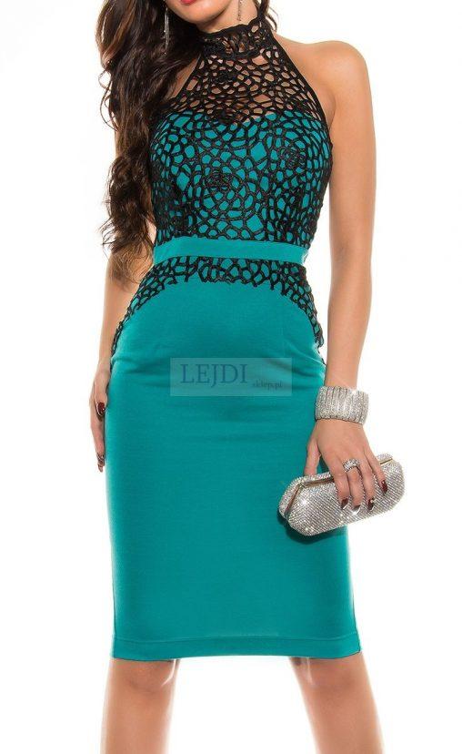 Elegancka sukienka koronkowa midi szmaragdowa