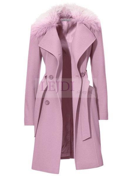 Wełniany płaszcz damski z futerkiem, wrzosowy