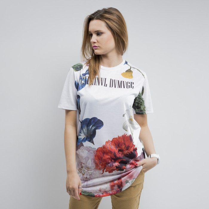 Luźna koszulka z krótkim rękawem, wzór w kwiaty