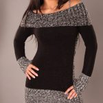 Gruby sweter damski jesienny z dekoltem typu Carmen