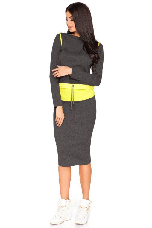 Sportowy komplet bluza i ołówkowa spódnica grafitowo-żółty