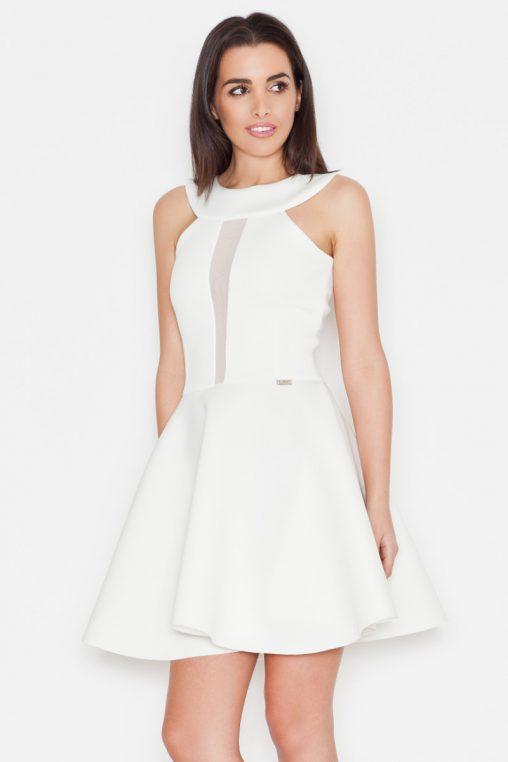 Ekskluzywna piankowa rozkloszowana sukienka, ecru