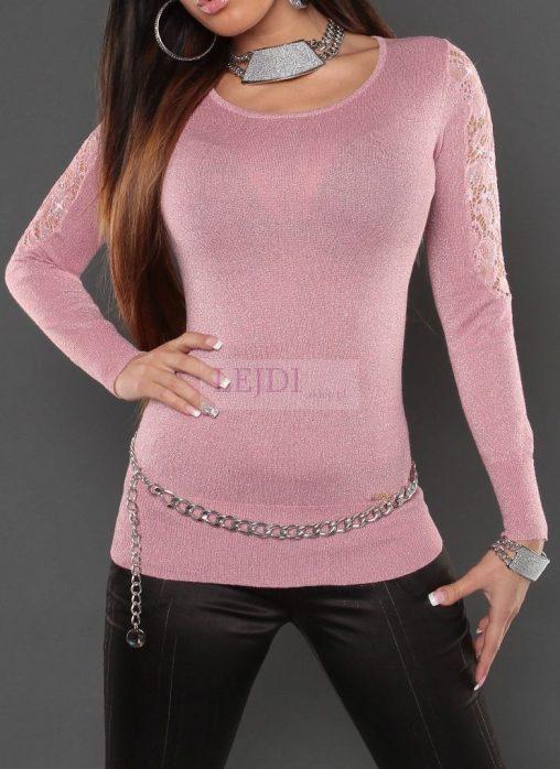 Błyszczący sweter damski, pudrowy róż