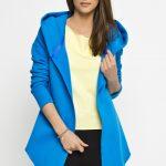 Bluza – narzutka na jesień, kaptur niebieska