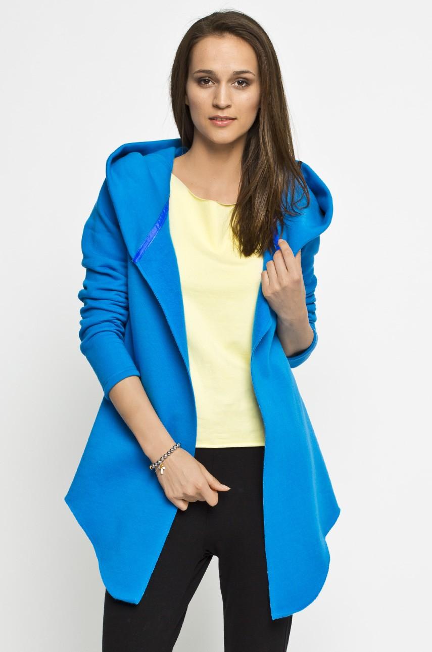 Bluza - narzutka na jesień, kaptur niebieska