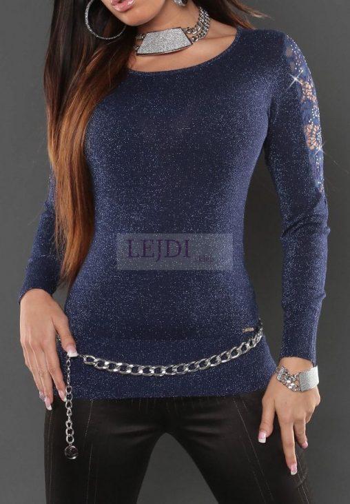 Błyszczący sweter damski, granatowy