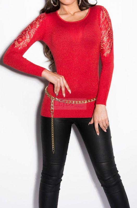 Błyszczący sweter damski, tunika, czerwony