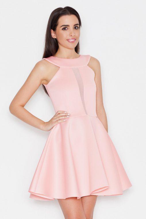 Ekskluzywna piankowa rozkloszowana sukienka, pudrowy róż