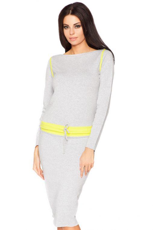 Sportowy komplet bluza i ołówkowa spódnica szaro-żółta