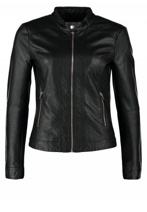 Czarna kurtka jesienna, ramoneska z ekoskóry