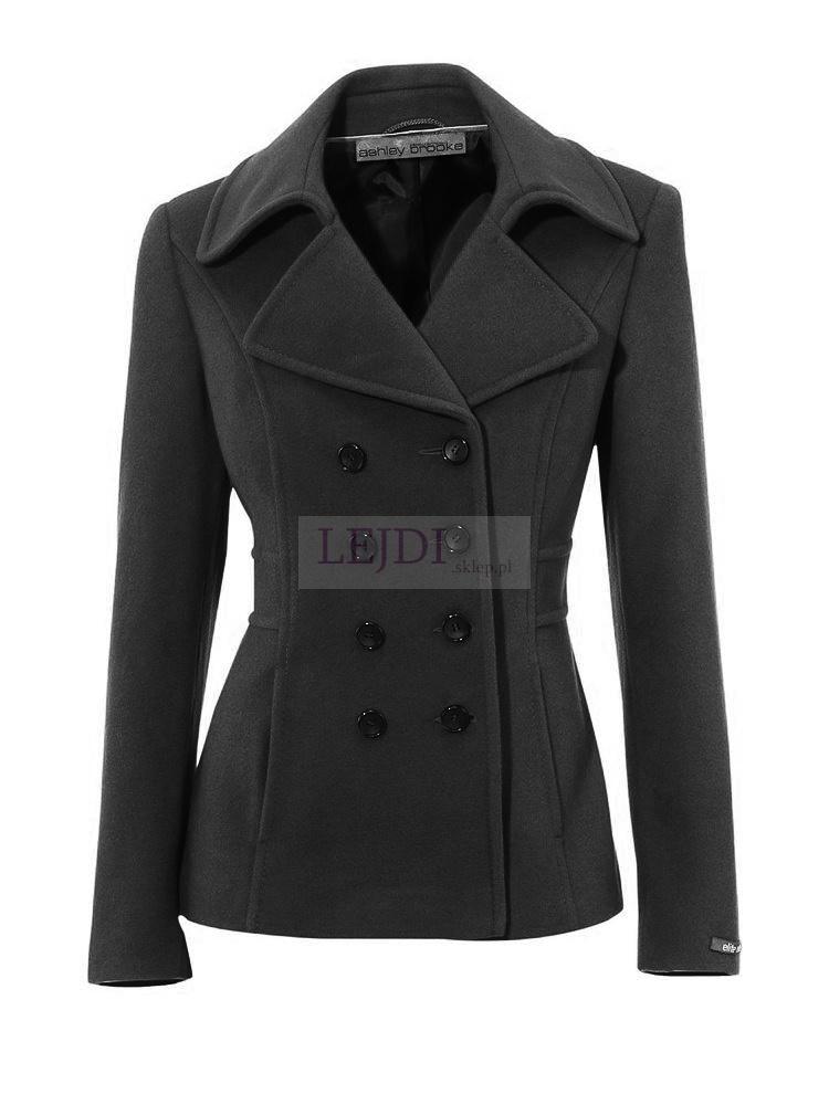 Krótki elegancki wełniany płaszcz, czarny