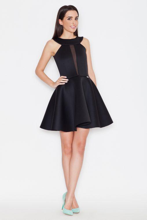 Ekskluzywna piankowa rozkloszowana sukienka, czarna