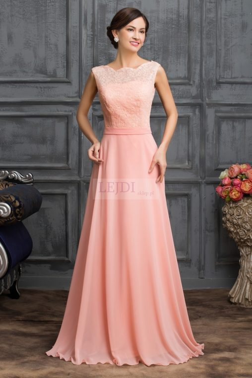 Wieczorowa długa suknia z kokardką, pastelowy róż