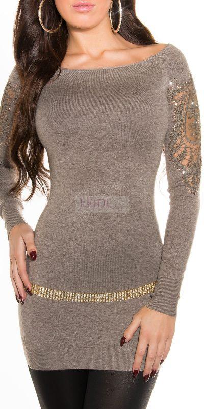 Sweter damski z koronką, mocca