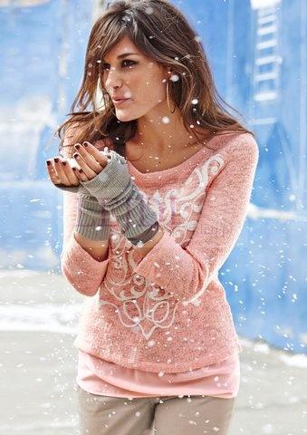 Modny sweterek z szyfonem, pudrowy róż