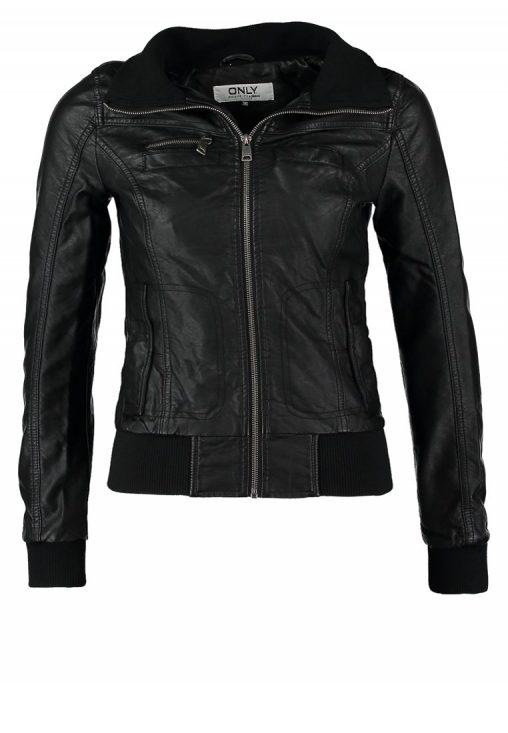 Czarna kurtka jesienna, ramoneska z kapturem