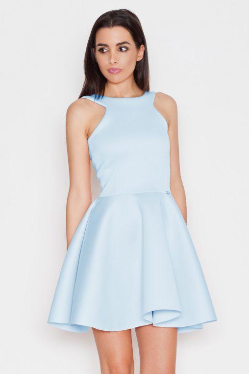 Ekskluzywna piankowa rozkloszowana sukienka, niebieska