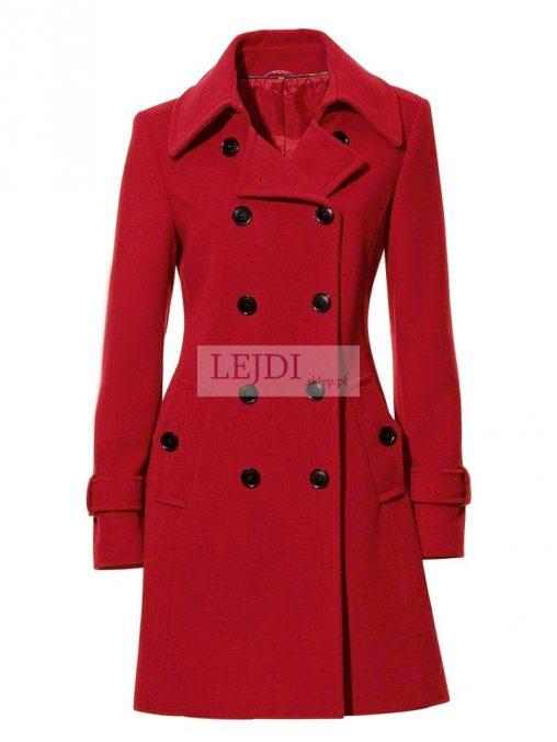 Kaszmirowo - wełniany płaszcz damski, czerwony