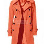 Kaszmirowo – wełniany płaszcz damski, pomarańczowy