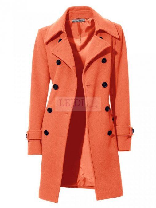 Kaszmirowo - wełniany płaszcz damski, pomarańczowy