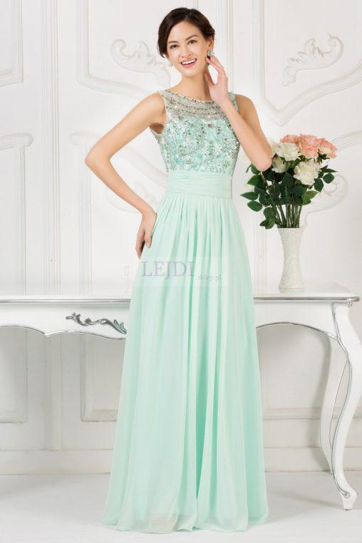 Wieczorowa długa suknia z kokardką, miętowa