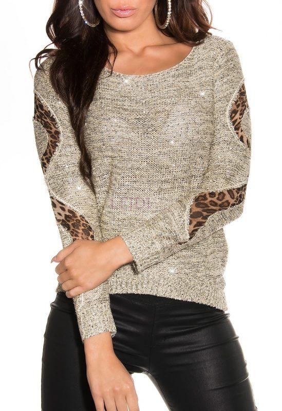 Wełniany dziergany sweter ze złotymi cekinami
