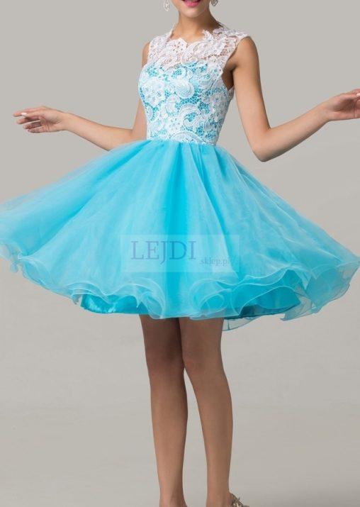 Organzowa sukienka na studniówkę, niebieska