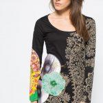 Asymetryczna luźna tunika damska, czarna