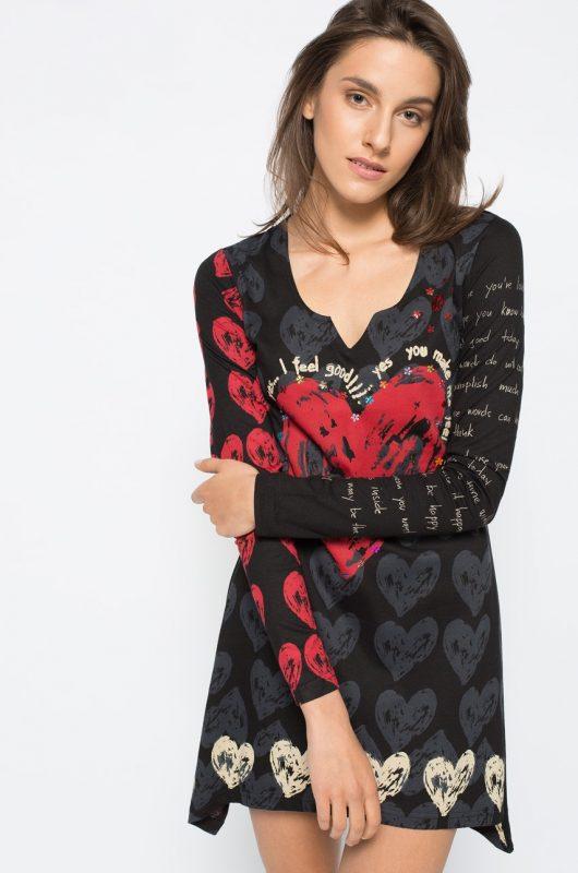 Asymetryczna luźna tunika damska z sercem
