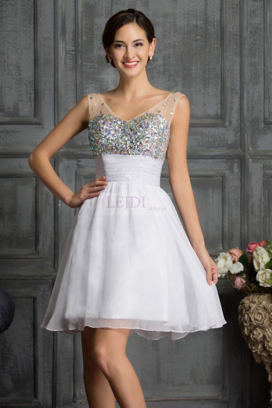 Biała sukienka z kryształkami na studniówkę, sylwestra, wesele